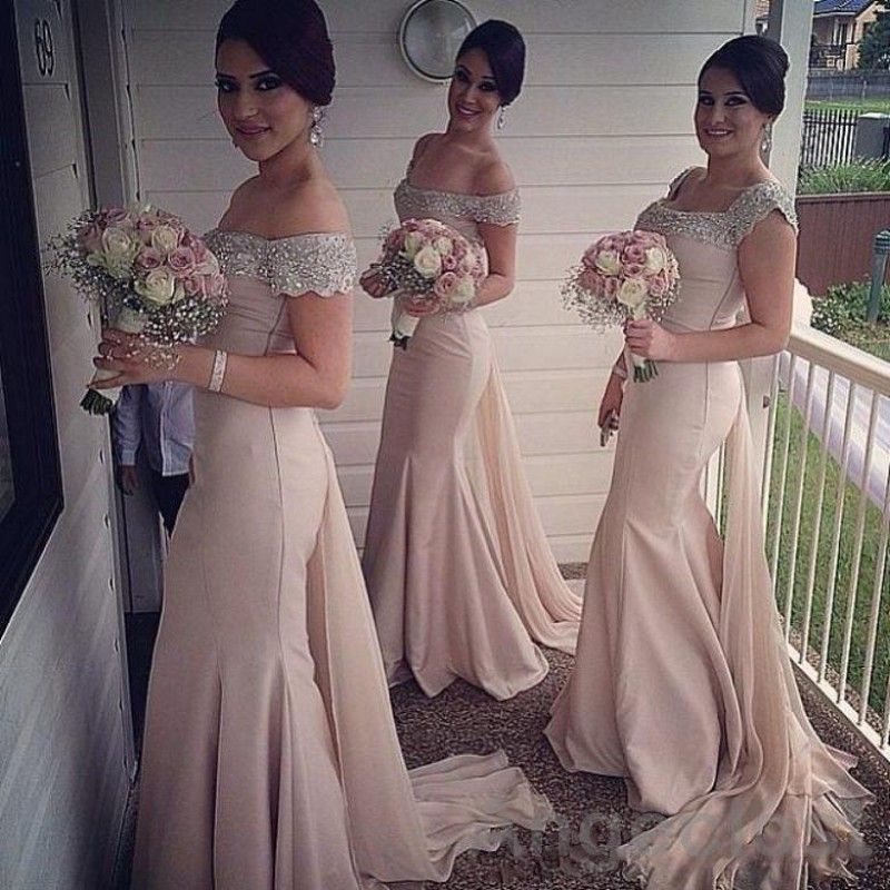5bfaafc8 2017 Glamorous Mermaid Bridesmaids Dresses Long Boat Neck Cap Sleeve  Crystal Pink Arabic Plus Size Champagne Wedding Guest Gowns #Affiliate