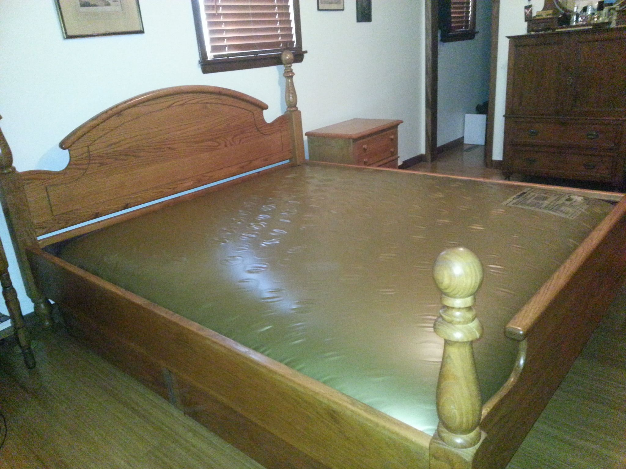 King Size Solid Oak Waterbed Waveless In Bethanns Garage Sale