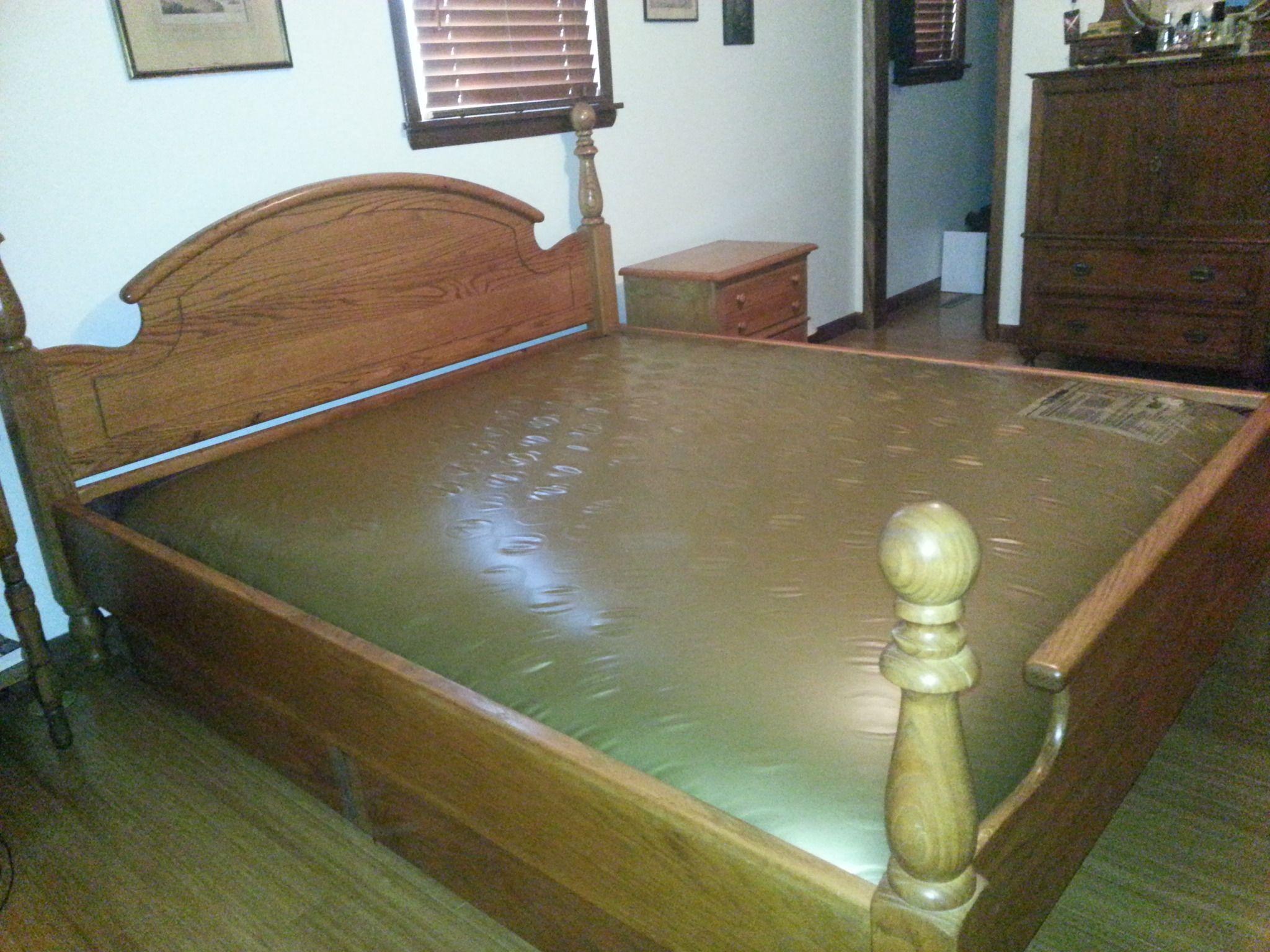 King Size Solid Oak Waterbed Waveless In Bethanns Garage