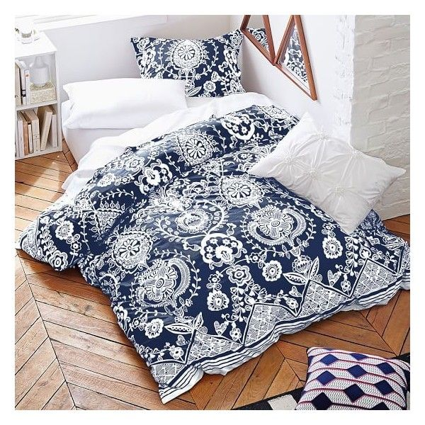 Natalia Duvet Cover Sham ($5.99) ❤ liked on Polyvore featuring home, bed & bath, bedding, white cotton bedding, white shams, striped bedding, colorful striped bedding and white bed linen