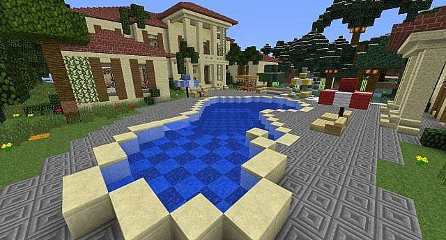Modern Mansion With Awesome Swimming Pool Minecraft Project