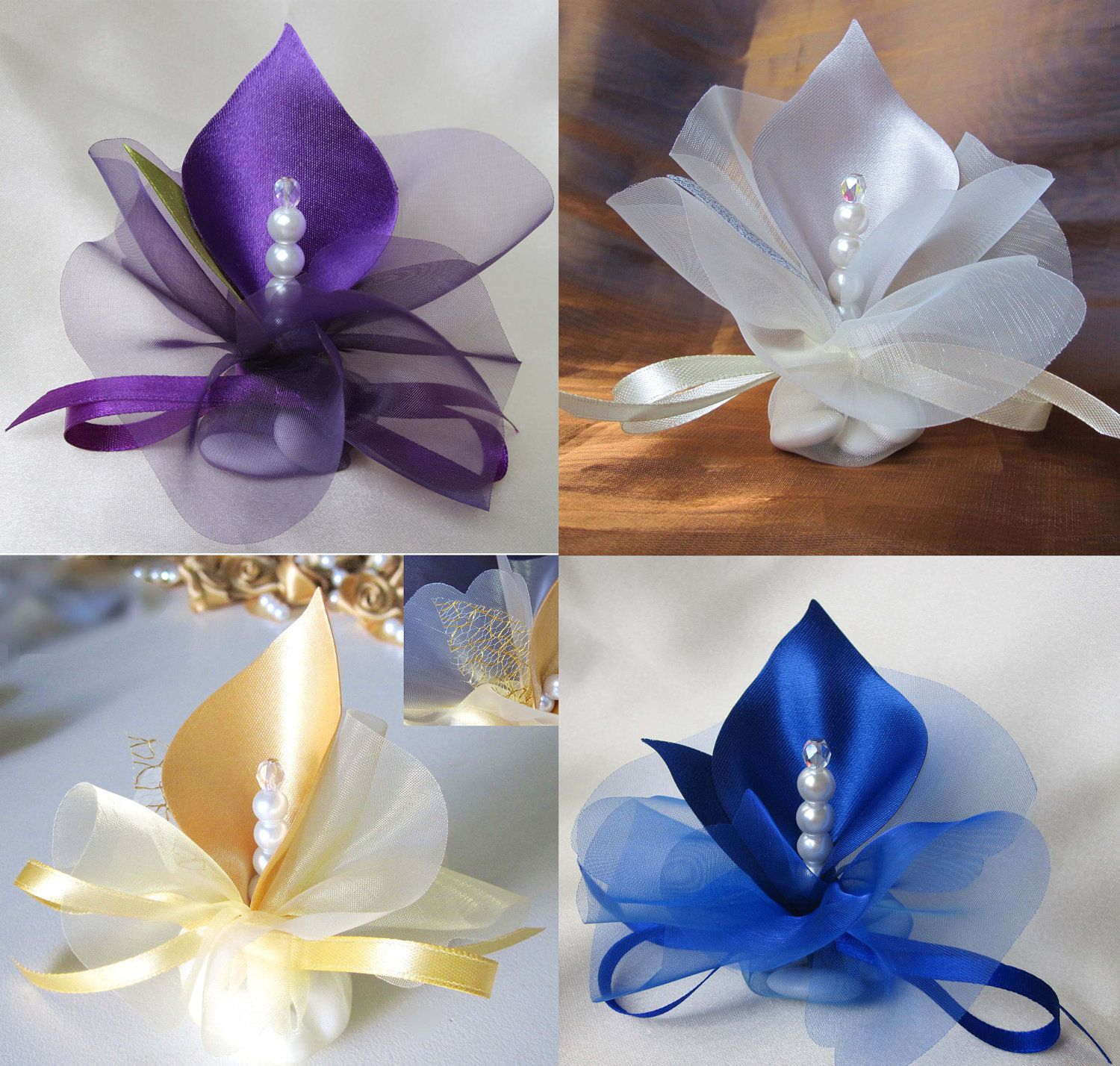 Wedding Favors Calla Lily Crystal Purple Royal Blue By Adiart1 130