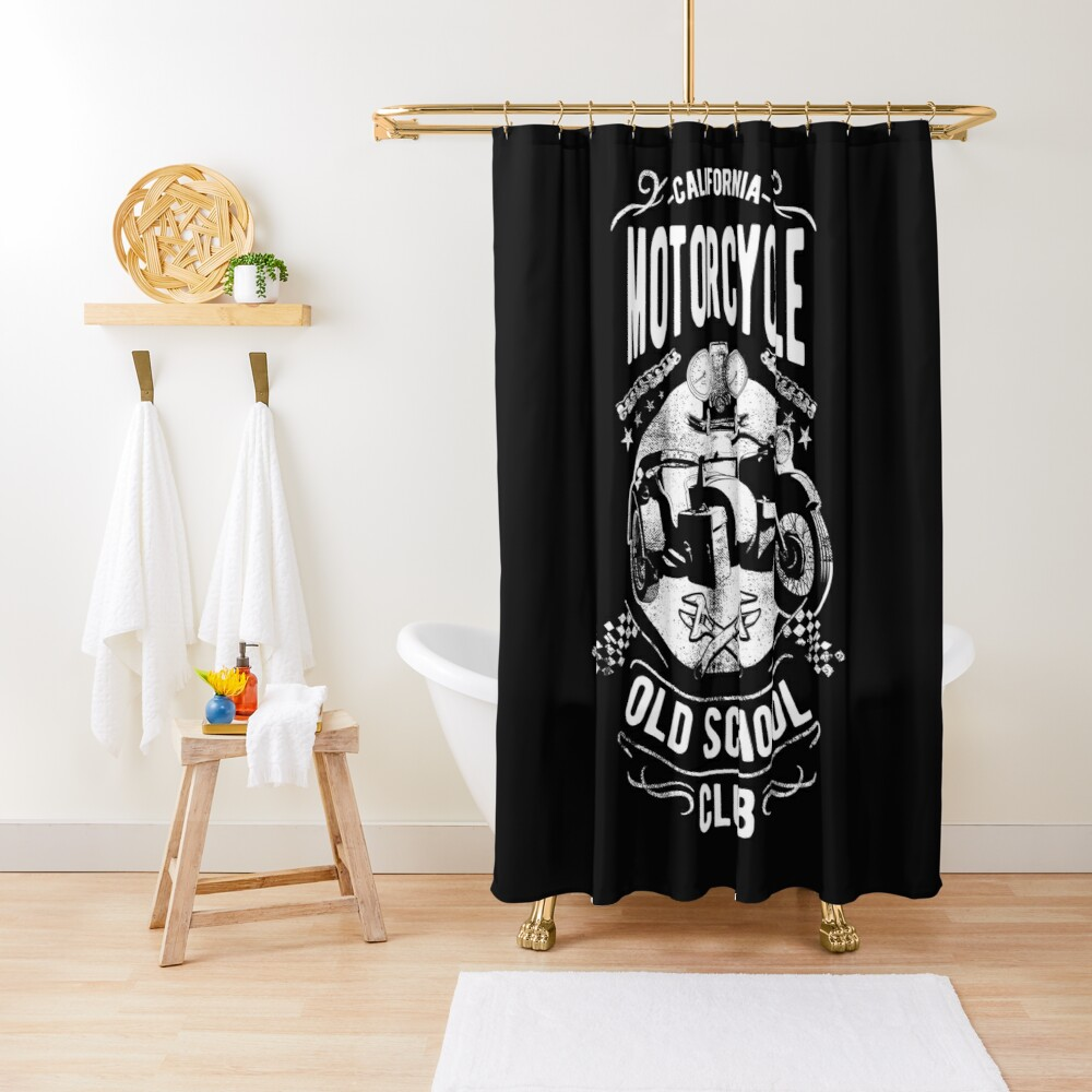 California Motorcycle Vintage Old School Vintage Retro Shower Curtain By Urbanbestie Retro Shower Curtain Retro Vintage Designer Shower Curtains