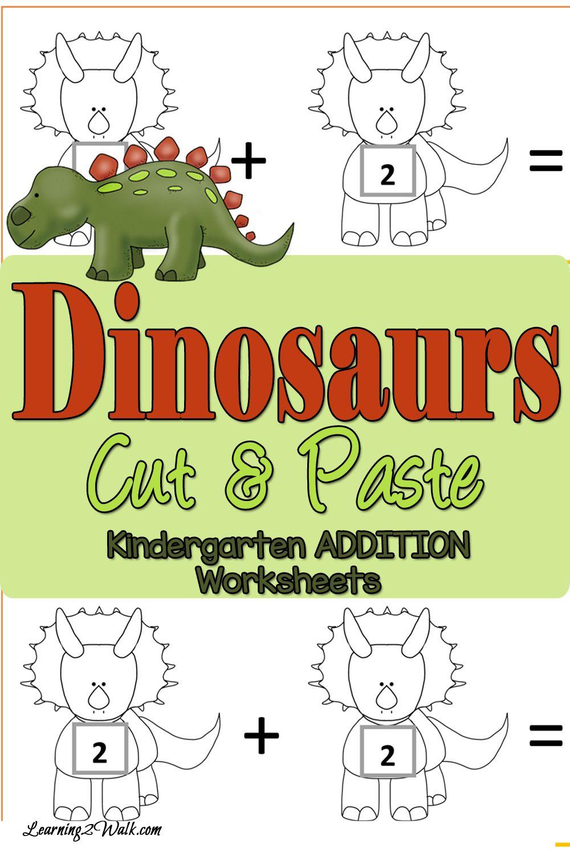 Cut and Paste Dinosaurs Addition Worksheets for Kindergarten ...