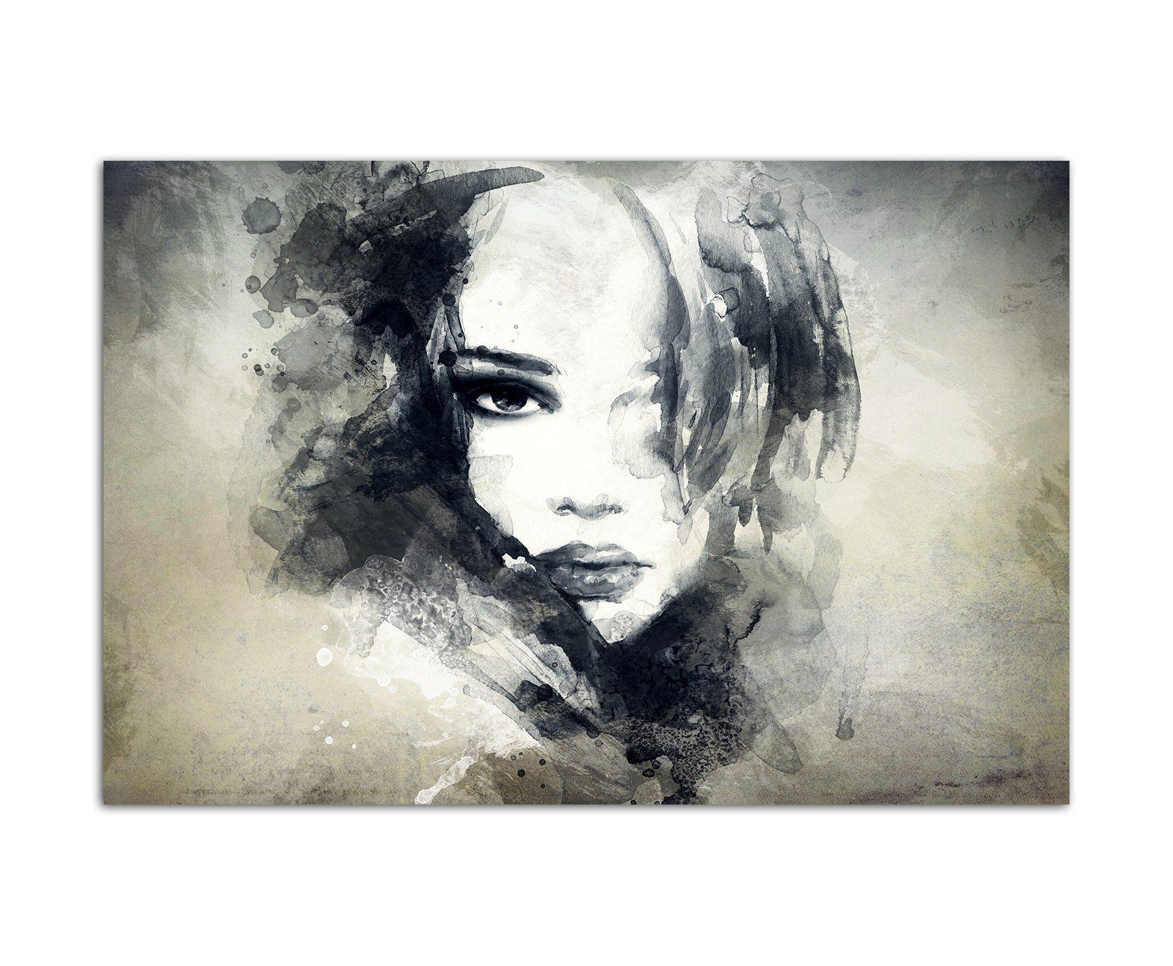 120x80cm - WANDBILD Handmalerei Gesicht Frau Mädchen abstrakt ...