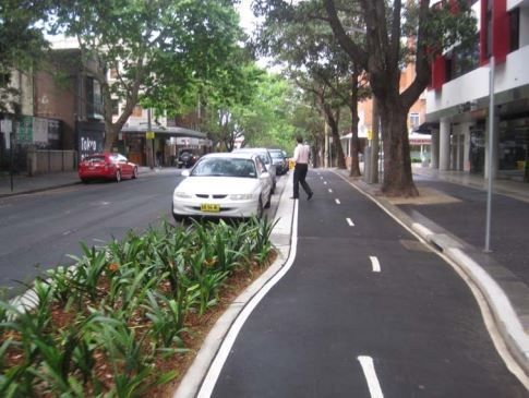 Two-way cycletrack with parking