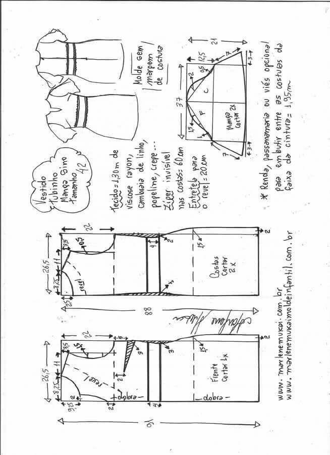 Patrón vestido media manga | Costura | Pinterest | Patrones, Costura ...