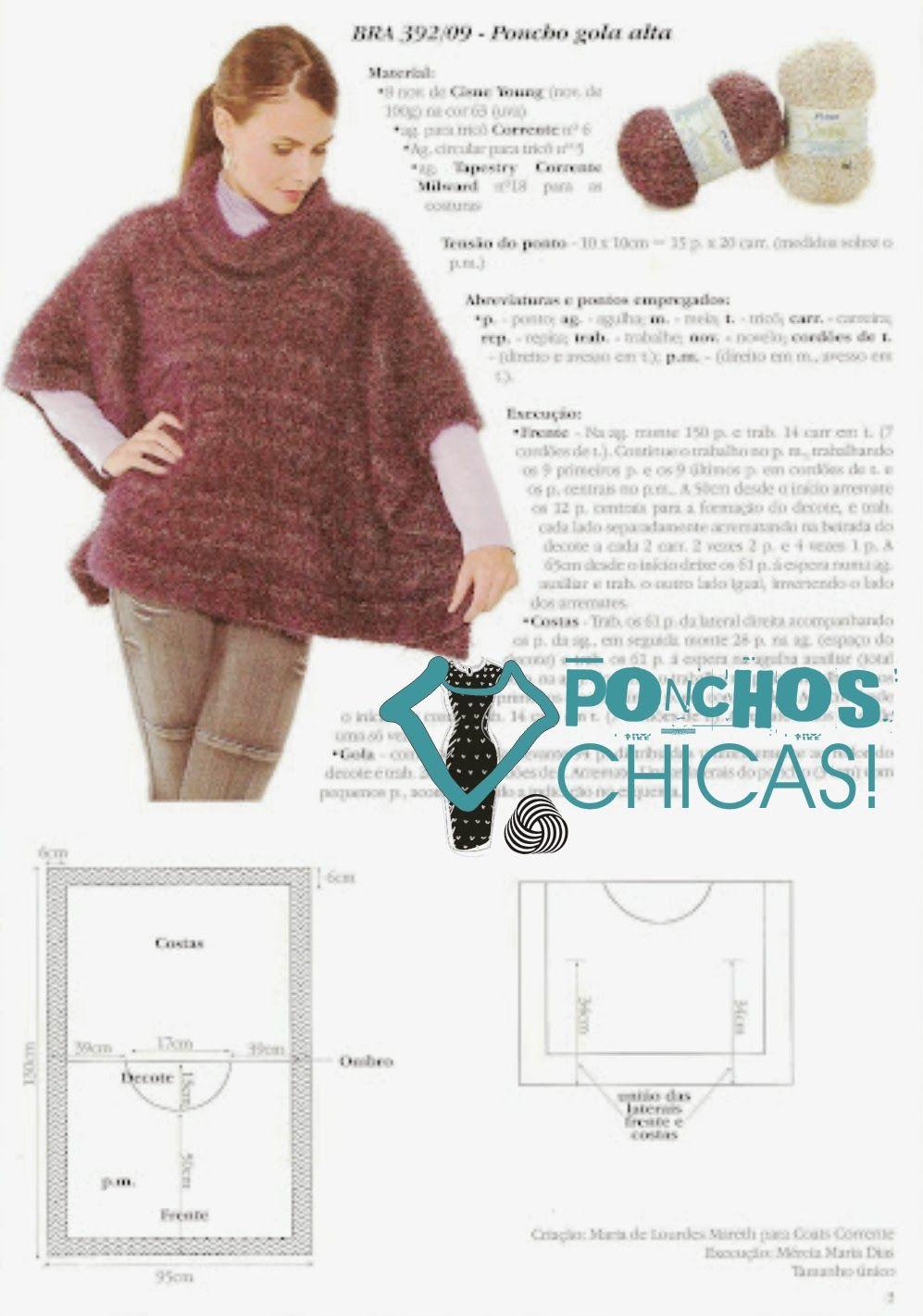 Pin de Leslie Guglielmo en Sew many seams | Pinterest | Ponchos, Dos ...