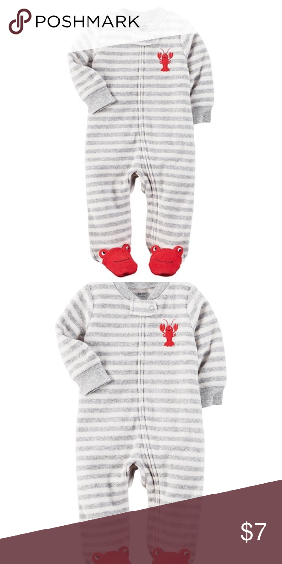 Carter's Cozy Stripped Lobster Nautical Onsie Your little man will be happy as a lobster this sleep and play by Carter's! The footed design and soft material will keep your little one cute and cozy all day.  Long-sleeves Crewneck Ankle-to-neck zip closure with snap button tab closure Footed design with lobster face Lobster applique on chest Grey and white stripe print 100% cotton Machine washable This is a new never warm, tags still on onsie. Carter's One Pieces Footies