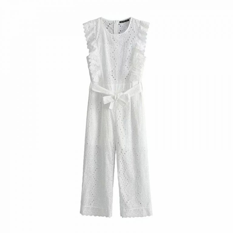 Cotton Linen Ruffled Embroidery Women Jumpsuit Hollow Out Sashes Long Jumpsuit Overalls