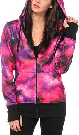 Empyre Hayden Pink Galaxy Tech Fleece Jacket at Zumiez : PDP