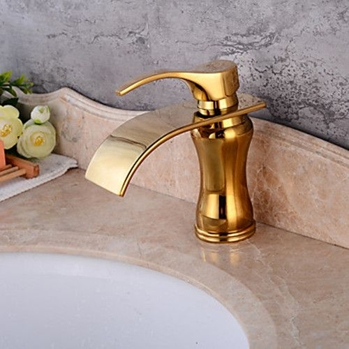 Single Handle Stainless Steel Brass Electroplated Waterfall Bathroom ...