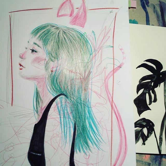 #doodle #fastsketch #portrait #art #illustration #pencil #instaart #drawing #animalgirl #flowerillustration #colorful #sketchbook #moleskine #sketchoftheday #illust #nawden #plant #looonalou #유화 #일러스트레이션 #