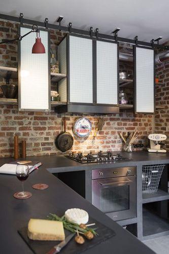 Ƹ̴Ӂ̴Ʒ La brique revisite les intérieurs ! Ƹ̴Ӂ̴Ʒ Cuisine, Kitchens