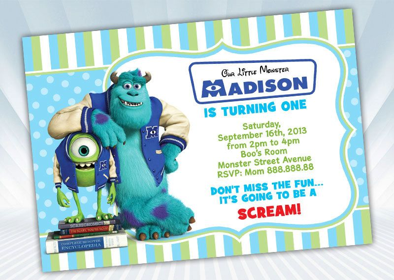 Monster University Invitation by DigiPartyShoppe on Etsy 600