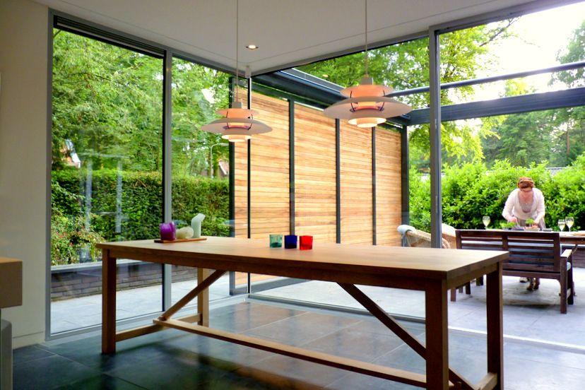 Wil bongers architectuur projecten tuinkamer uitbouw aanbouw glas staal hout terras - Afscheiding glas keuken woonkamer ...