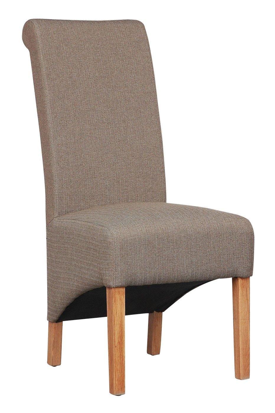 Dalia Herringbone Plain Fabric Dining Chairs