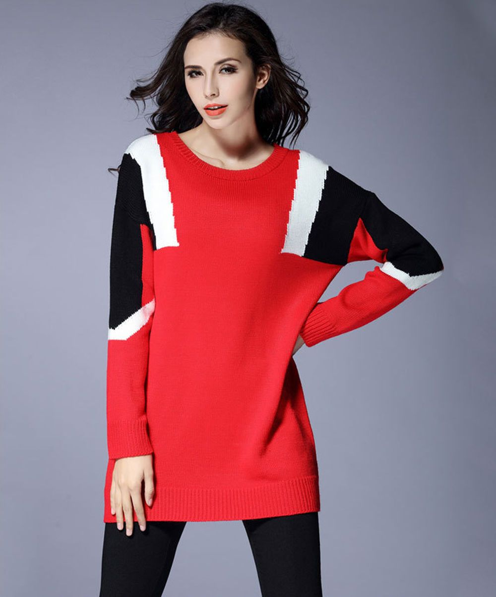 Womens ladies casual sweater knit dress long sleeve us size