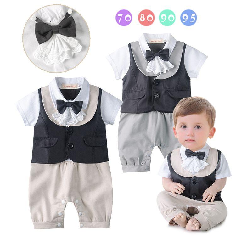 Gentlmen Stylish Baby Boy Rompers Cute Bow-knot Tie Khaki & Gray ...