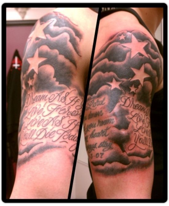 Quote And Stars With Clouds Tattoo On Half Sleeve