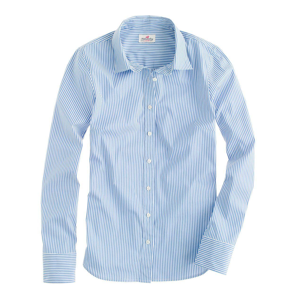 Jcrew womens petite stretch perfect shirt in classic stripe size m