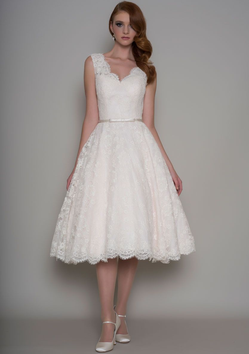 Rose vintage inspired tea length bridal dress wedding dresses