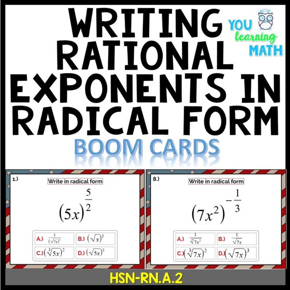Writing Rational Exponents In Radical Form Digital Boom Cards 20 Problems Learning Math Exponents Writing