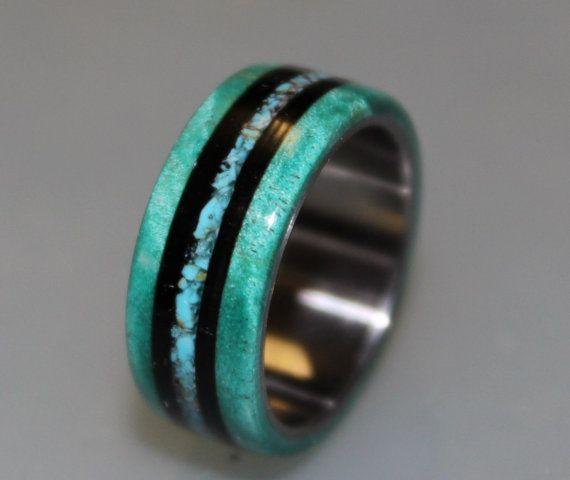 Anium Ring Wedding Band Teal Box Elder Burl Wood Turquoise