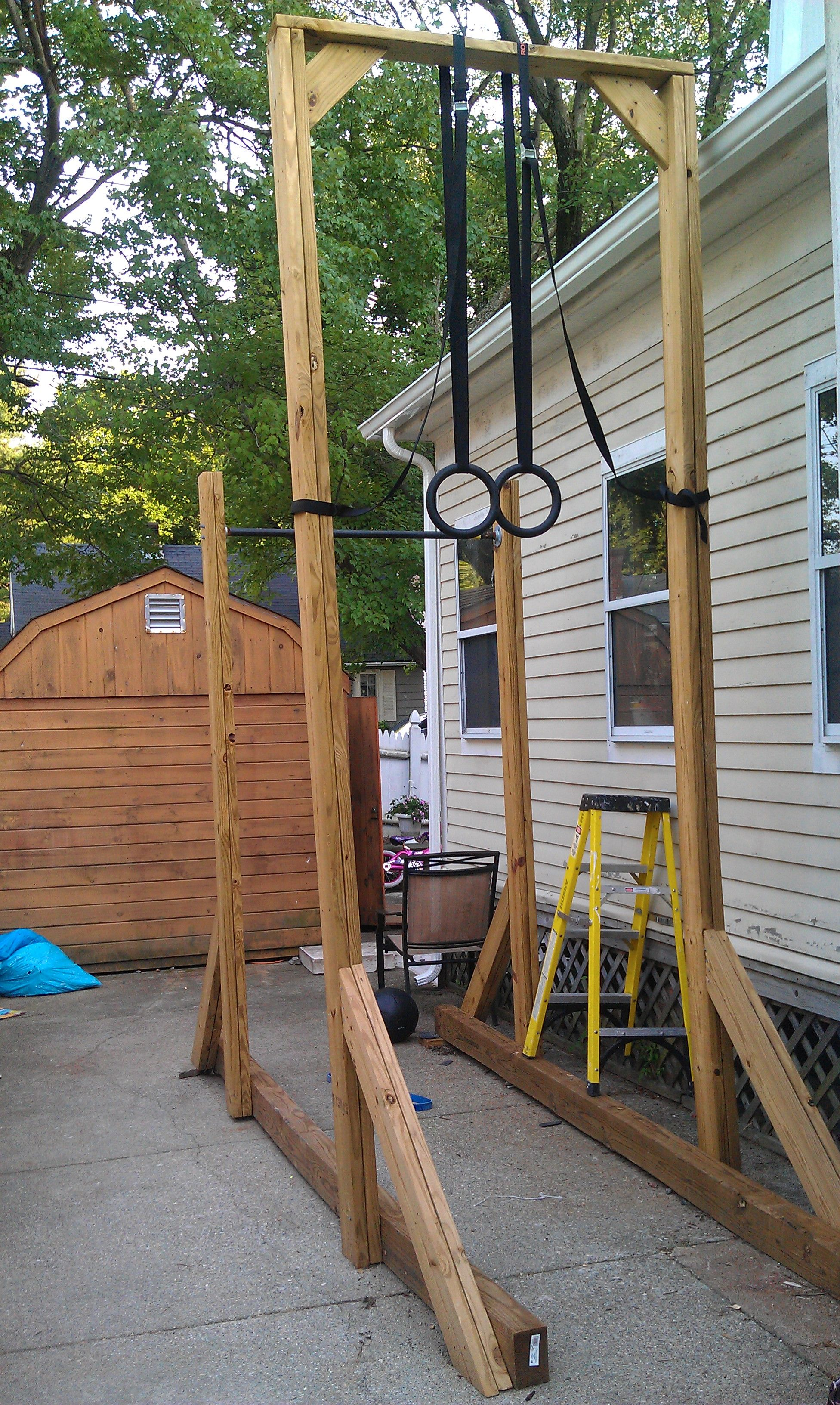 backyard pull up bar ring set could add a 15 rope climb too