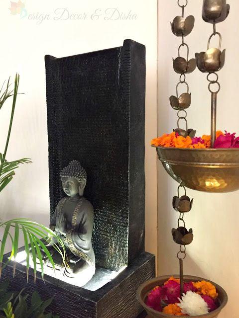 Design Decor Disha Brass Hanging Lotus Diya Lamp Buddha Water