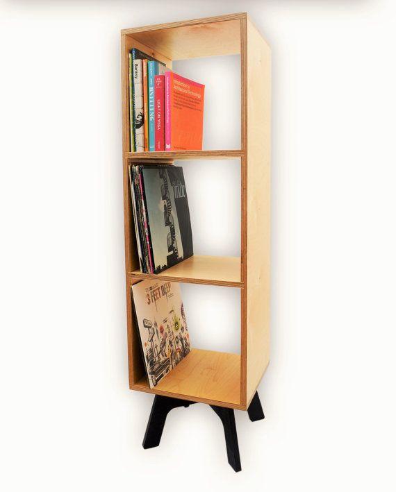 RETRO BOOKCASE Vinyl Record Storage Mid Century Modern Bookshelf Plywood Display Unit Open Shelving Tall Cabinet