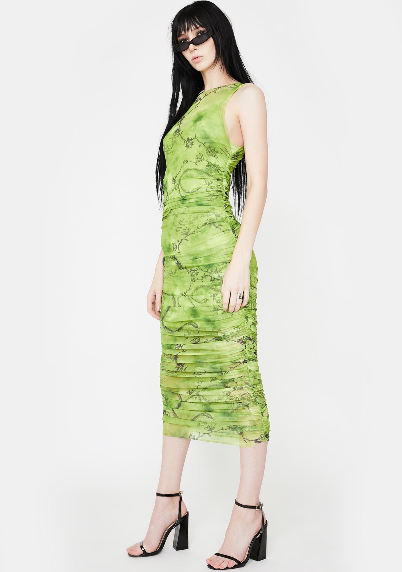 I AM GIA Green Crescent Mesh Midi Dress Dolls Kill in