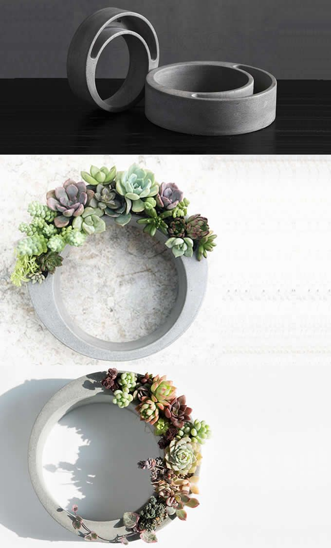 Handmade Concrete Succulent Planter Flower Pot Handmade