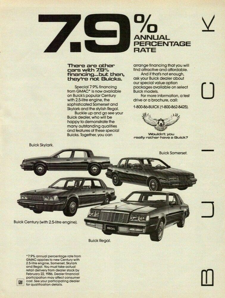 1986 Buick 4 Models Regal Century Skylark Somerset Vintage Art