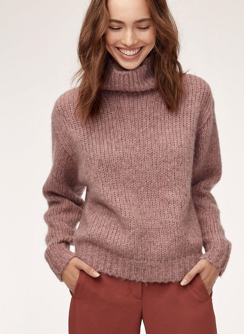 469198ddf0b Wilfred s much-loved mock neck sweater featuring luxe Italian yarn. This  version is knit with an alpaca-blend that s warm
