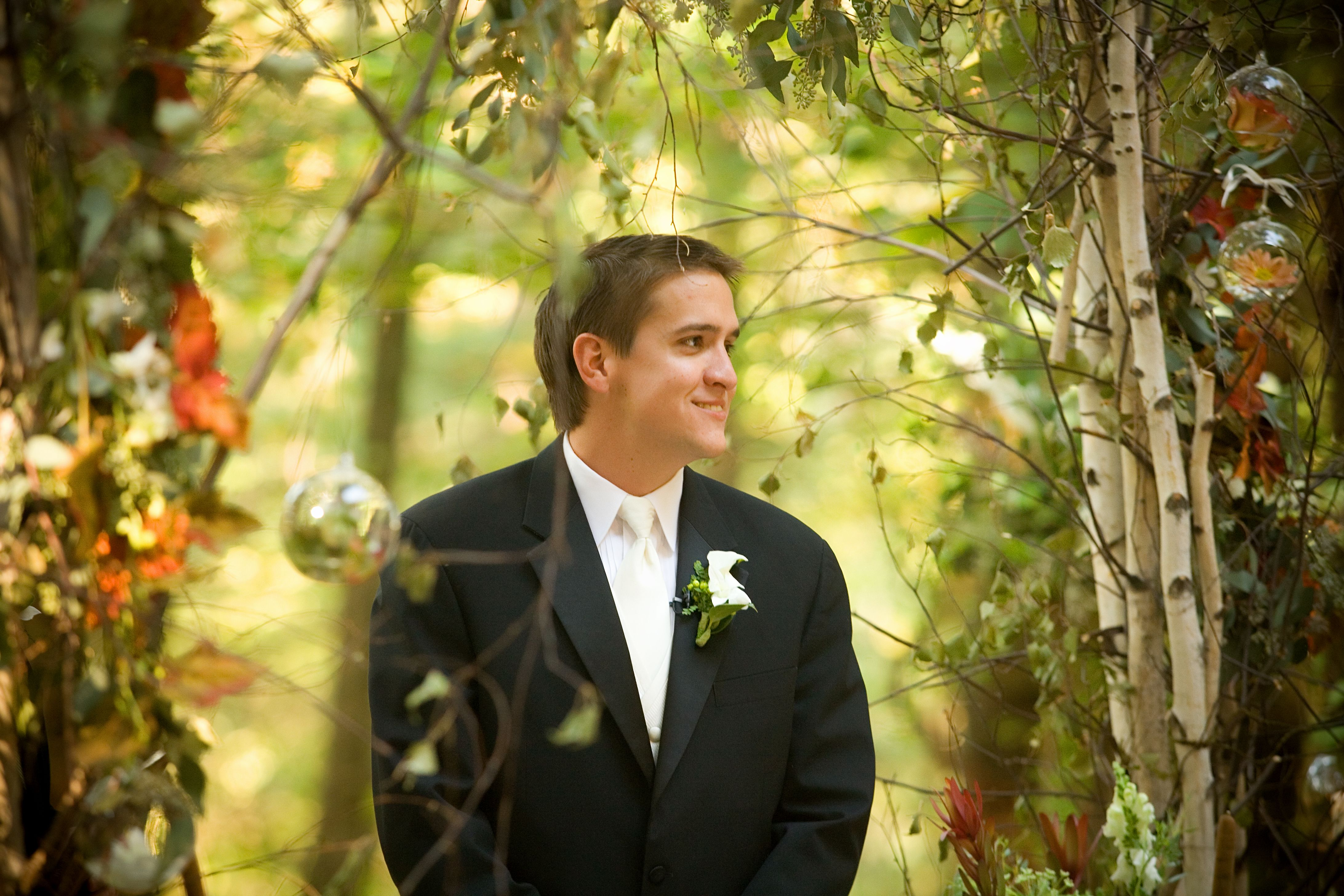My son in law watching his Bride walk down the aisle.