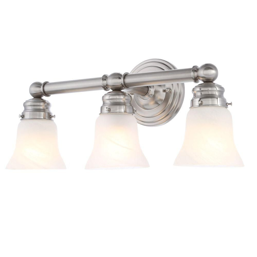 Hampton Bay 3 Light Brushed Nickel Bath Sconce 05381 Outdoor Wall Light Fixtures Replacement Glass Shades Sconces