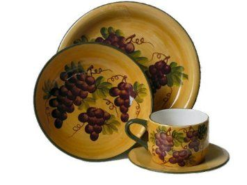 Amazon.com 16 pc Dinnerware Set Dinner Set Tuscany Grape Wine Decor Home \u0026 Kitchen  sc 1 st  Pinterest & Amazon.com: 16 pc Dinnerware Set Dinner Set Tuscany Grape Wine ...