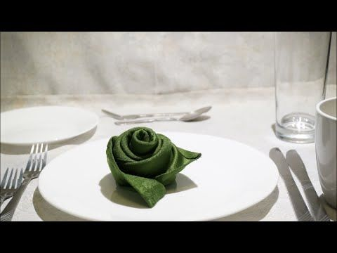 For that special occasion! Rose napkin folding: Long Rose Bud & Short Rose Bud. - YouTube ...