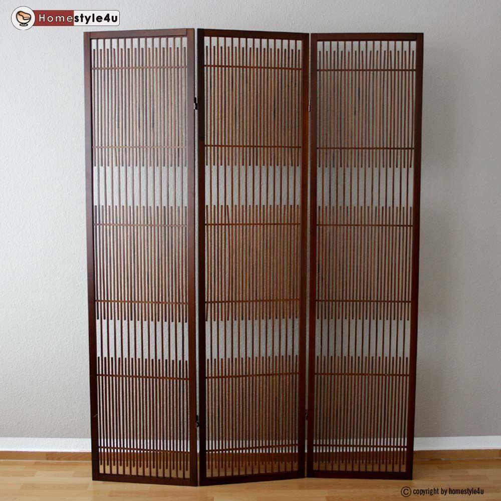 Beautiful  fach Paravent Raumteiler Holz Trennwand spanische Wand Sichtschutz Braun