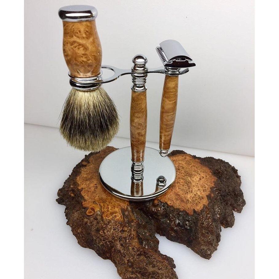Brown Mallee Burl Shaving Kit- Exotic Woodworx