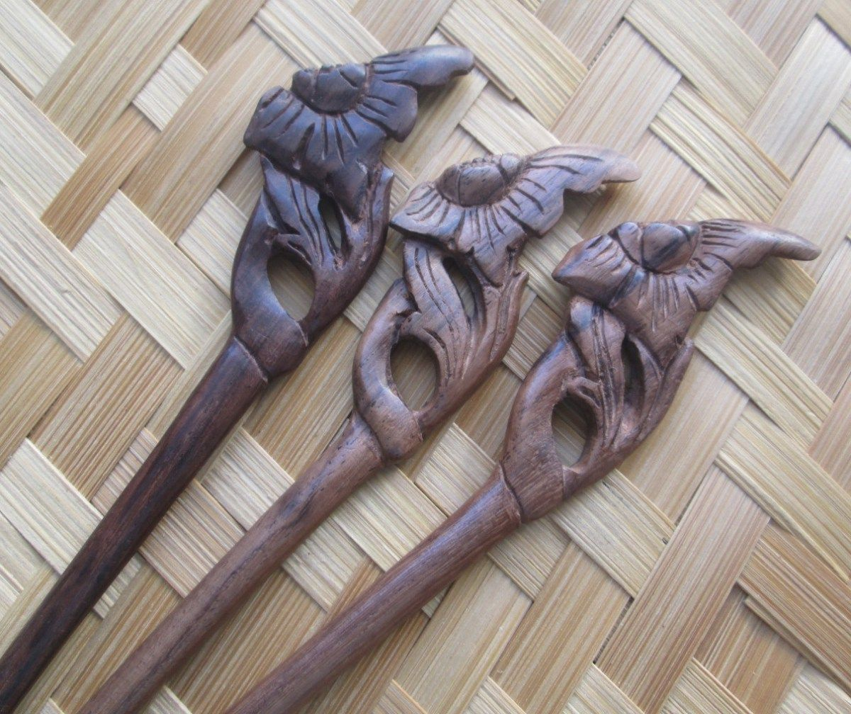 Flower Wooden Hair Sticks Pins Forks From Sono Wood
