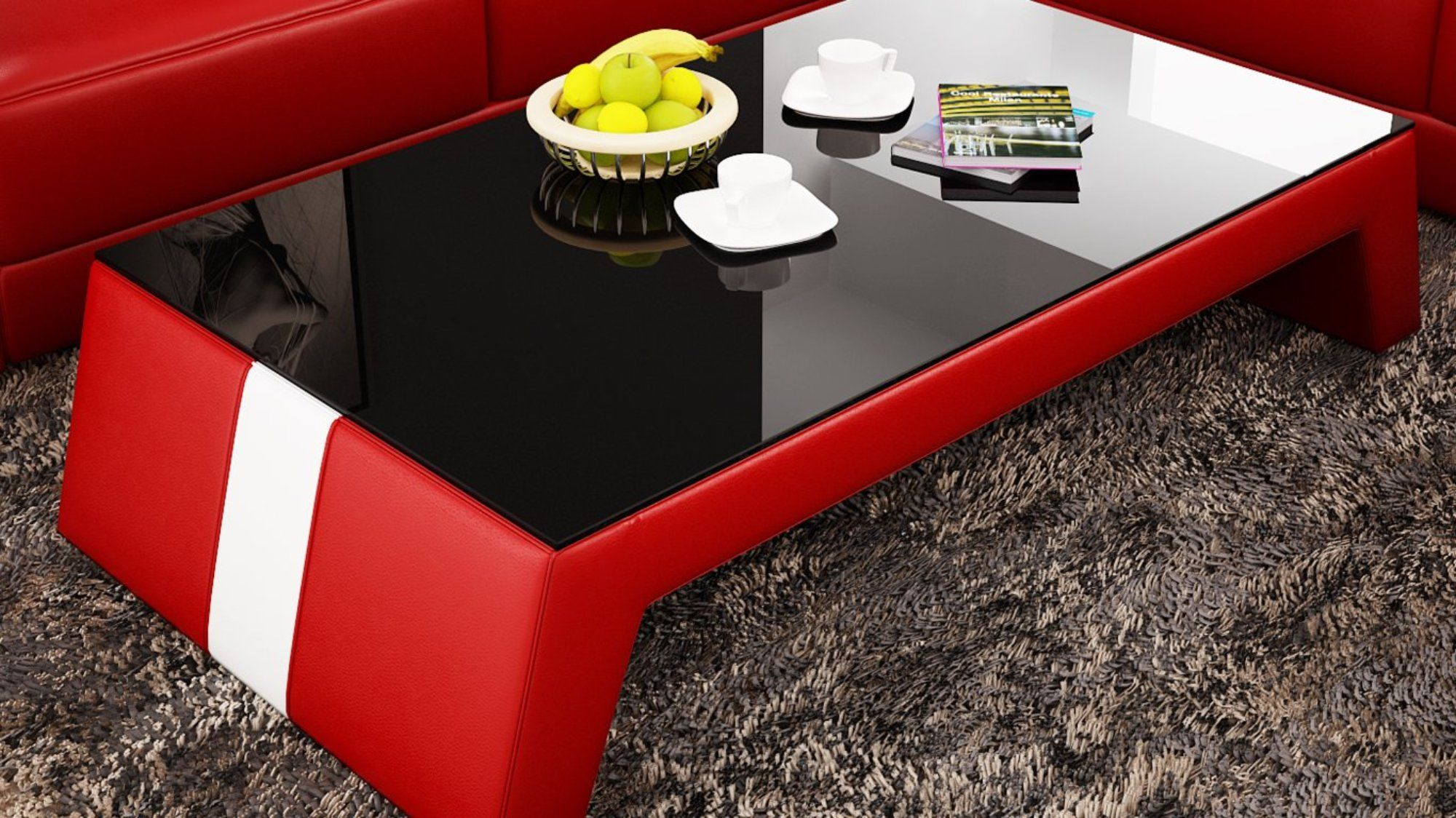 Contemporary Red Leather Coffee Table W Black Glass Table Top Leather Coffee Table Glass Top Table Coffee Table [ 1124 x 2000 Pixel ]