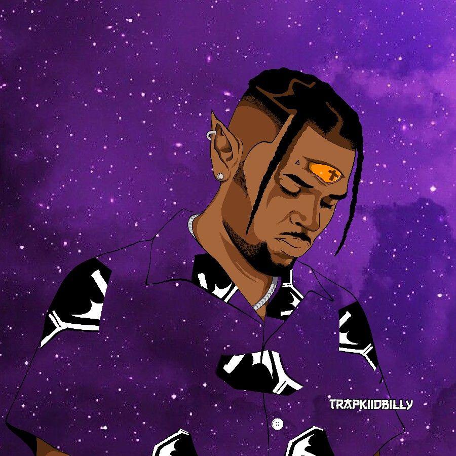 Chris Brown Indigo Art Cartoon by Trapkiidbilly