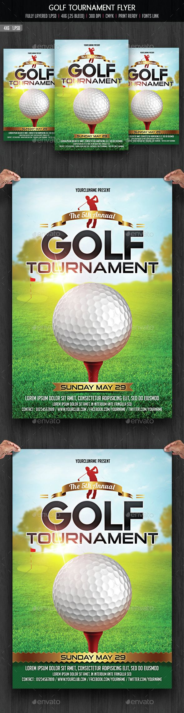 Golf Tournament Flyer By Creativeartx Golf Tournament Flyer Template