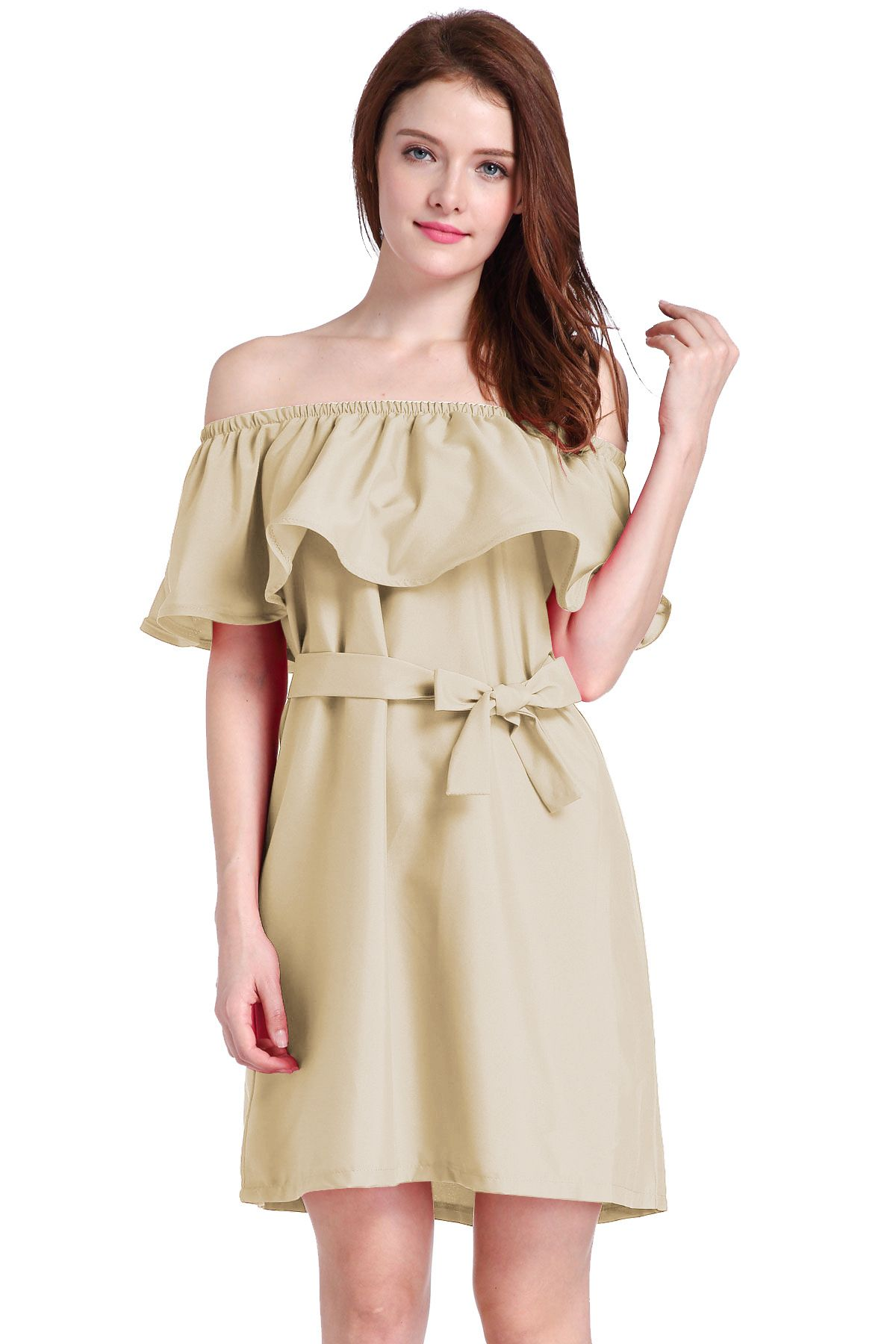 aa705133e95d Ruffled Off-The-Shoulder Short Shift Dress Featuring Bow Accent ...