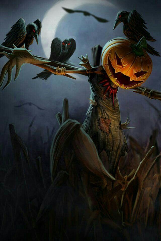 Halloween Art Pumpkin Jack O Lanterns Ravens Scare