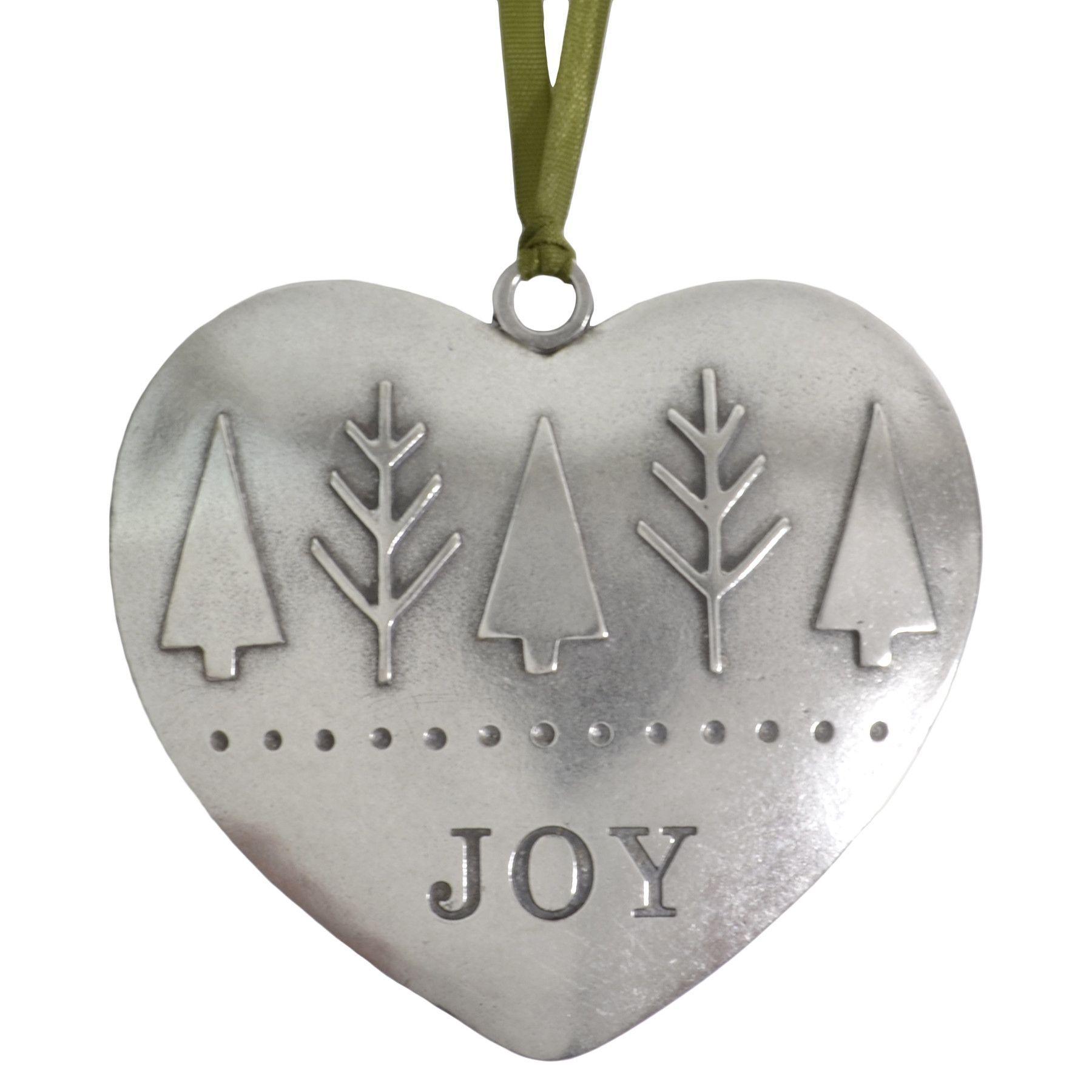 Beehive ornament - Beehive Handmade Joy Heart Shaped Pewter Ornament
