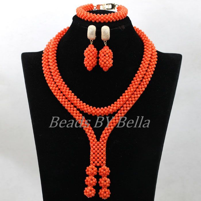 2016-New-Design-Handmade-Coral-Beads-Statement-Necklace-Set ...