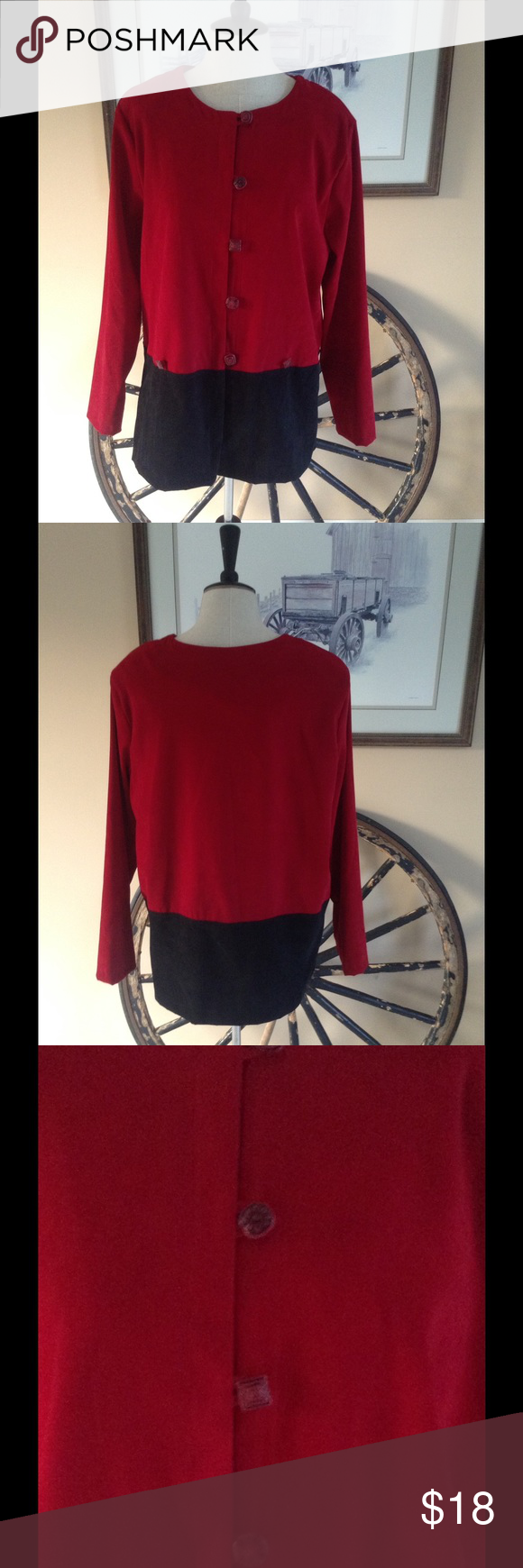 """R&K Originals jacket Deep red top and black bottom to compliment it. The buttons on this jacket are beautifully created in all different shapes and patterns. Fabric feels like a soft velvet even though it is 97% polyester and 3% spandex. Bust is 40"""". Length is 28"""" Jackets & Coats"""